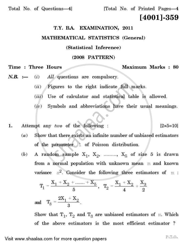 Question Paper - Mathematical Statistics General Paper 3- Statistical Inference 2011 - 2012-B.A.-3rd Year (TYBA) University of Pune