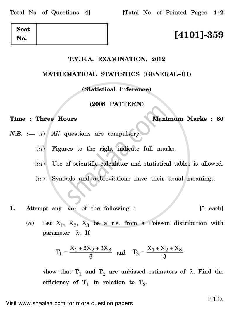 Question Paper - Mathematical Statistics General Paper 3- Statistical Inference 2011 - 2012 - B.A. - 3rd Year (TYBA) - University of Pune