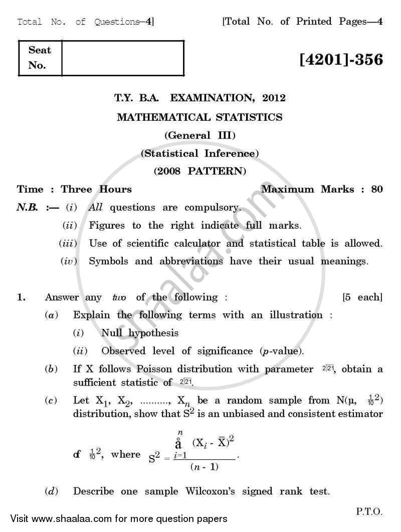 Mathematical Statistics General Paper 3- Statistical Inference 2012-2013 - B.A. - 3rd Year (TYBA) - University of Pune question paper with PDF download