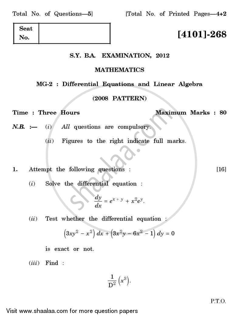 Question Paper - Mathematics General Paper 2- Differential Equations and Linear Algebra 2011 - 2012 - B.A. - 2nd Year (SYBA) - University of Pune