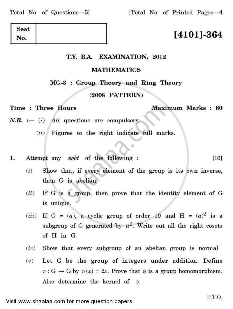 Mathematics General Paper 3- Group Theory and Ring Theory 2011-2012 - B.A. - 3rd Year (TYBA) - University of Pune question paper with PDF download