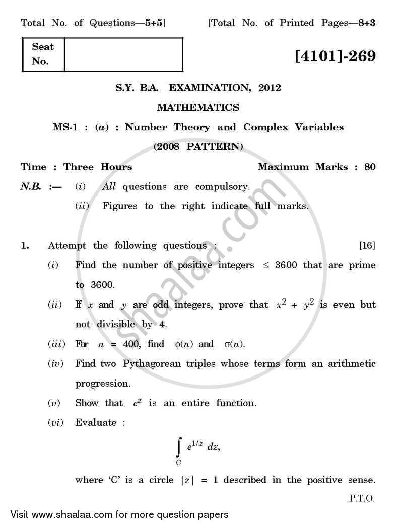 Question Paper - Mathematics Special Paper 1- Number Theory and Complex Variables 2011 - 2012 - B.A. - 2nd Year (SYBA) - University of Pune