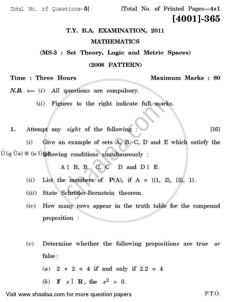 Question Paper - Mathematics Special Paper 3- Set Theory, Logic and Metric Spaces 2011 - 2012 - B.A. - 3rd Year (TYBA) - University of Pune