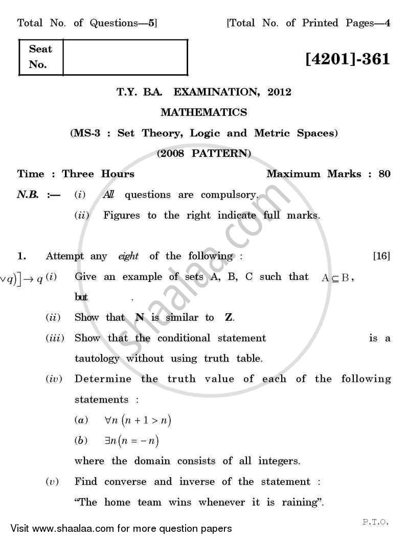 Mathematics Special Paper 3- Set Theory, Logic and Metric Spaces