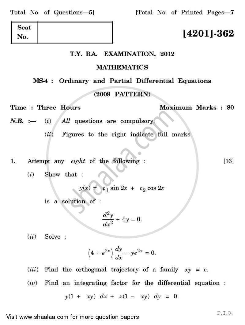 Mathematics Special Paper 4- Ordinary Differential Equations
