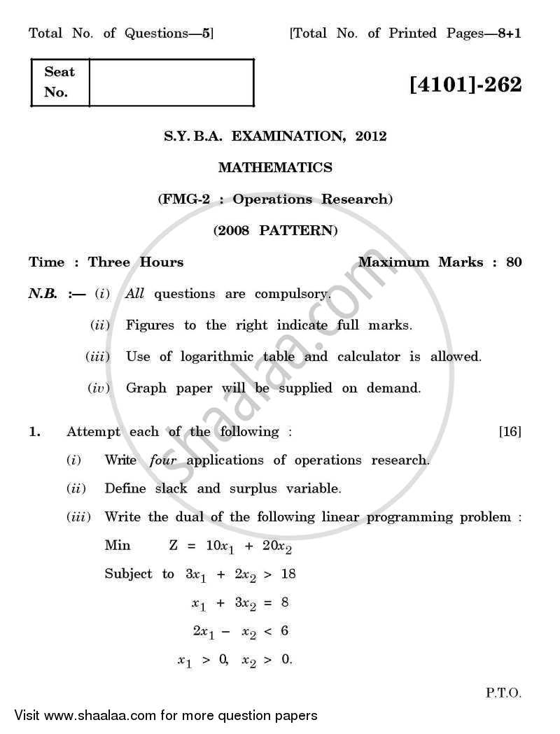 Question Paper - Operations Research 2011 - 2012 - B.A. - 2nd Year (SYBA) - University of Pune