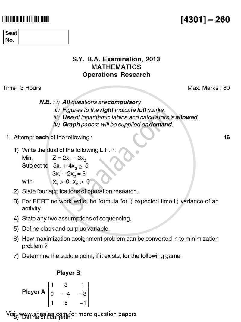 Question Paper - Operations Research 2012 - 2013 - B.A. - 2nd Year (SYBA) - University of Pune