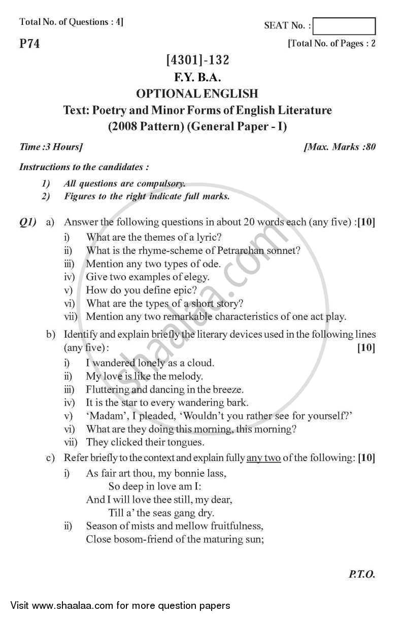 question paper optional english introduction to poetry and question paper optional english introduction to poetry and minor forms of literature 2012