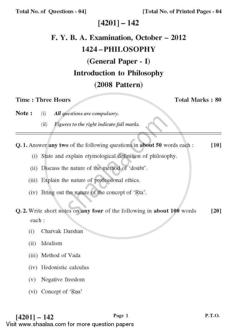 Question Paper - Philosophy General Paper 1- Introduction to Philosophy 2012 - 2013 - B.A. - 1st Year (FYBA) - University of Pune