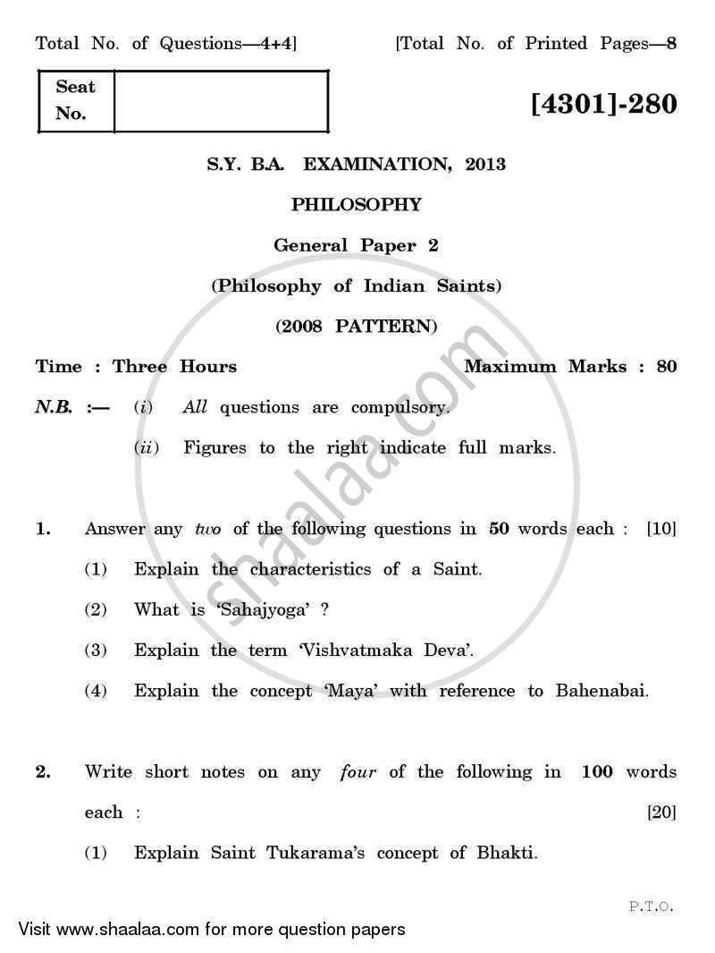 Question Paper - Philosophy General Paper 2- Philosophy of Indian Saints 2012 - 2013 - B.A. - 2nd Year (SYBA) - University of Pune