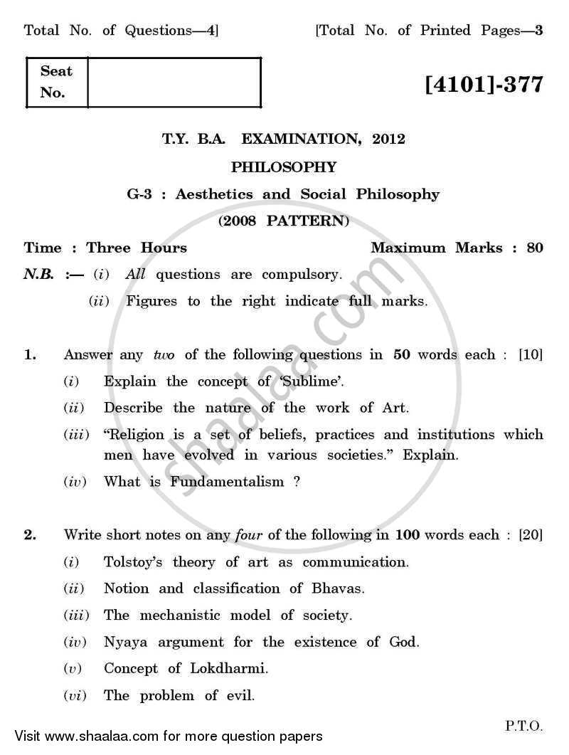 Question Paper - Philosophy General Paper 3- Aesthetics and Social Philosophy 2011 - 2012 - B.A. - 3rd Year (TYBA) - University of Pune