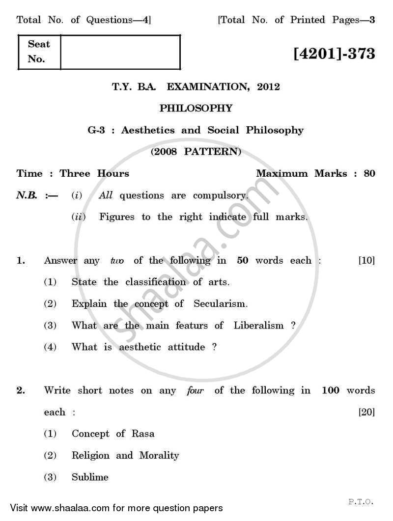 Question Paper - Philosophy General Paper 3- Aesthetics and Social Philosophy 2012 - 2013 - B.A. - 3rd Year (TYBA) - University of Pune