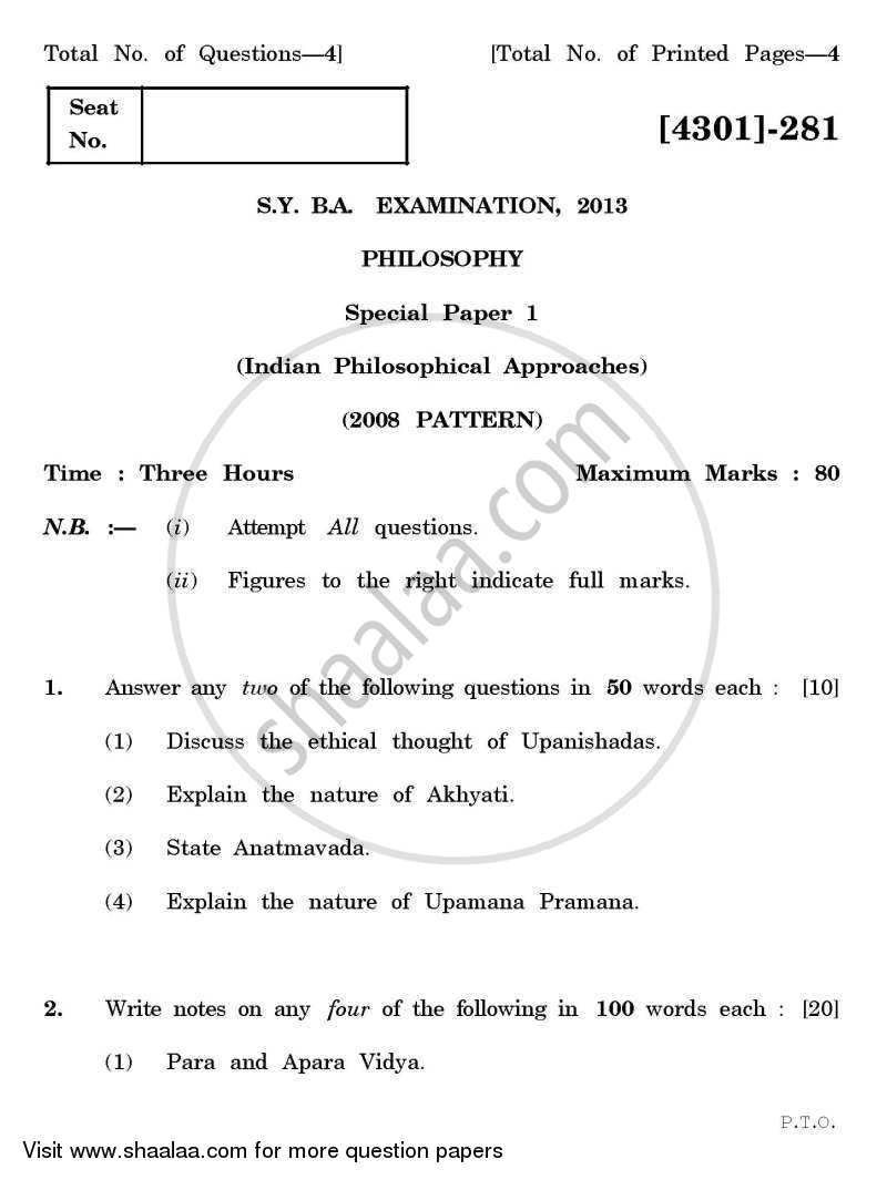 Philosophy Special Paper 1- Indian Philosophical Approaches 2012-2013 - B.A. - 2nd Year (SYBA) - University of Pune question paper with PDF download