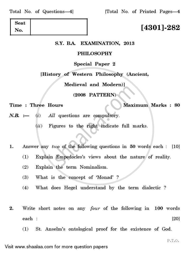 Question Paper - Philosophy Special Paper 2- History of Western Philosophy (Ancient Medievals and Modern) 2012 - 2013 - B.A. - 2nd Year (SYBA) - University of Pune