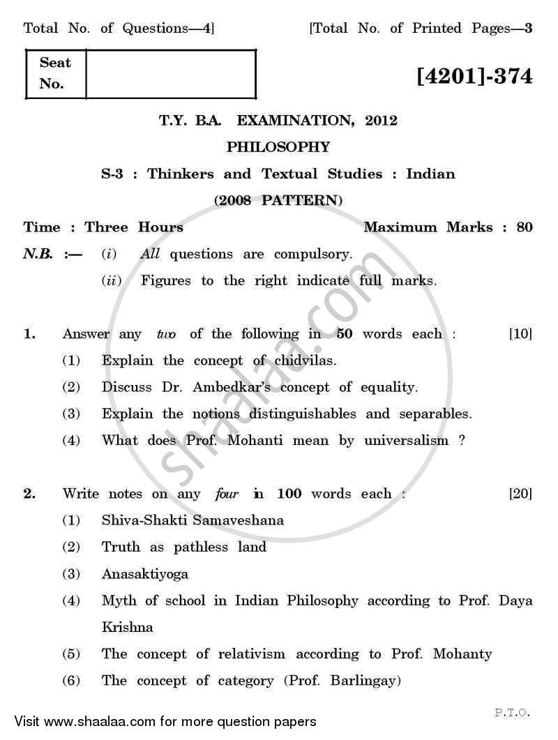 Question Paper - Philosophy Special Paper 3- Thinkers and Textual Studies (Indian) 2012 - 2013 - B.A. - 3rd Year (TYBA) - University of Pune