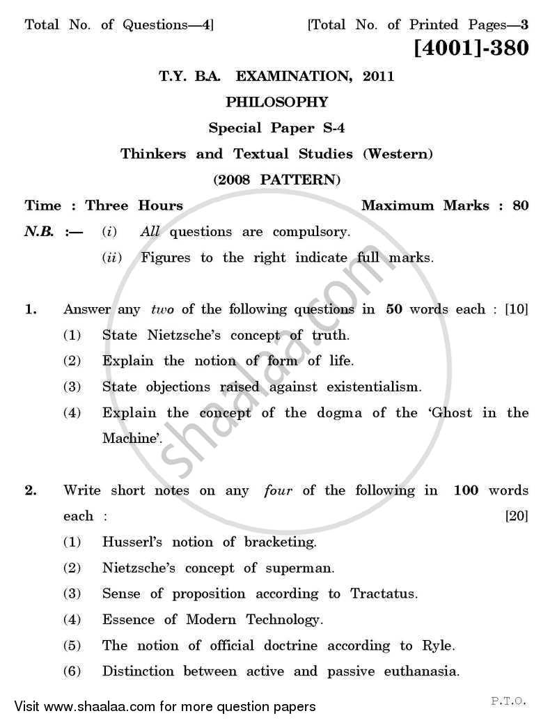 Question Paper - Philosophy Special Paper 4- Thinkers and Textual Studies (Western) 2011 - 2012 - B.A. - 3rd Year (TYBA) - University of Pune