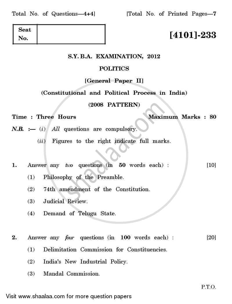 Political Science General Paper 2- Constitutional and Political Process in India 2011-2012 - B.A. - 2nd Year (SYBA) - University of Pune question paper with PDF download