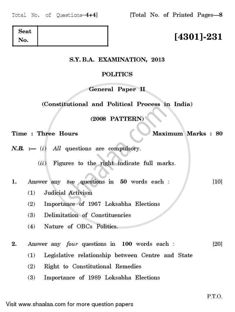 Political Science General Paper 2- Constitutional and Political Process in India 2012-2013 - B.A. - 2nd Year (SYBA) - University of Pune question paper with PDF download