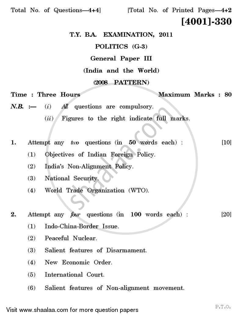 Question Paper - Political Science General Paper 3- India and the World 2011 - 2012 - B.A. - 3rd Year (TYBA) - University of Pune