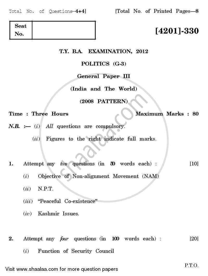 Question Paper - Political Science General Paper 3- India and the World 2012 - 2013-B.A.-3rd Year (TYBA) University of Pune