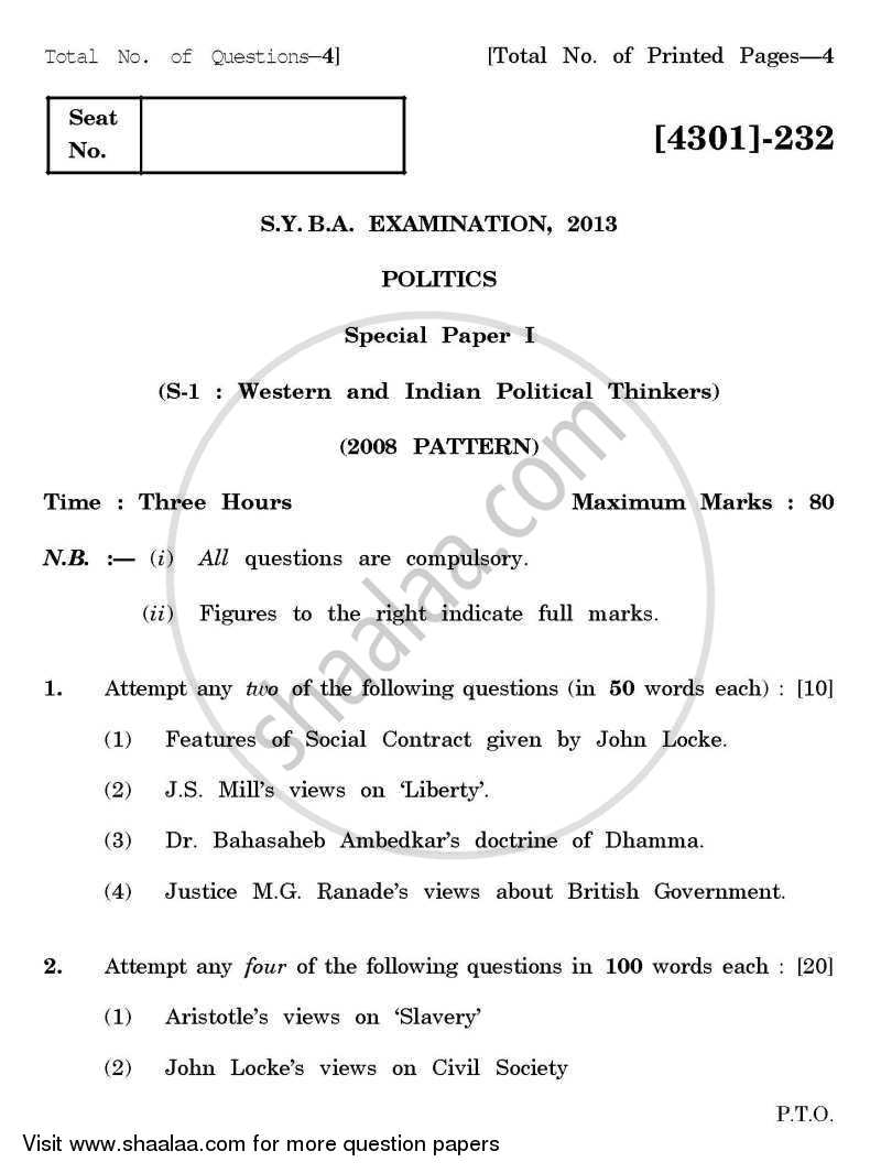 Question Paper - Political Science Special Paper 1- Western and Indian Political Thinkers 2012 - 2013 - B.A. - 2nd Year (SYBA) - University of Pune