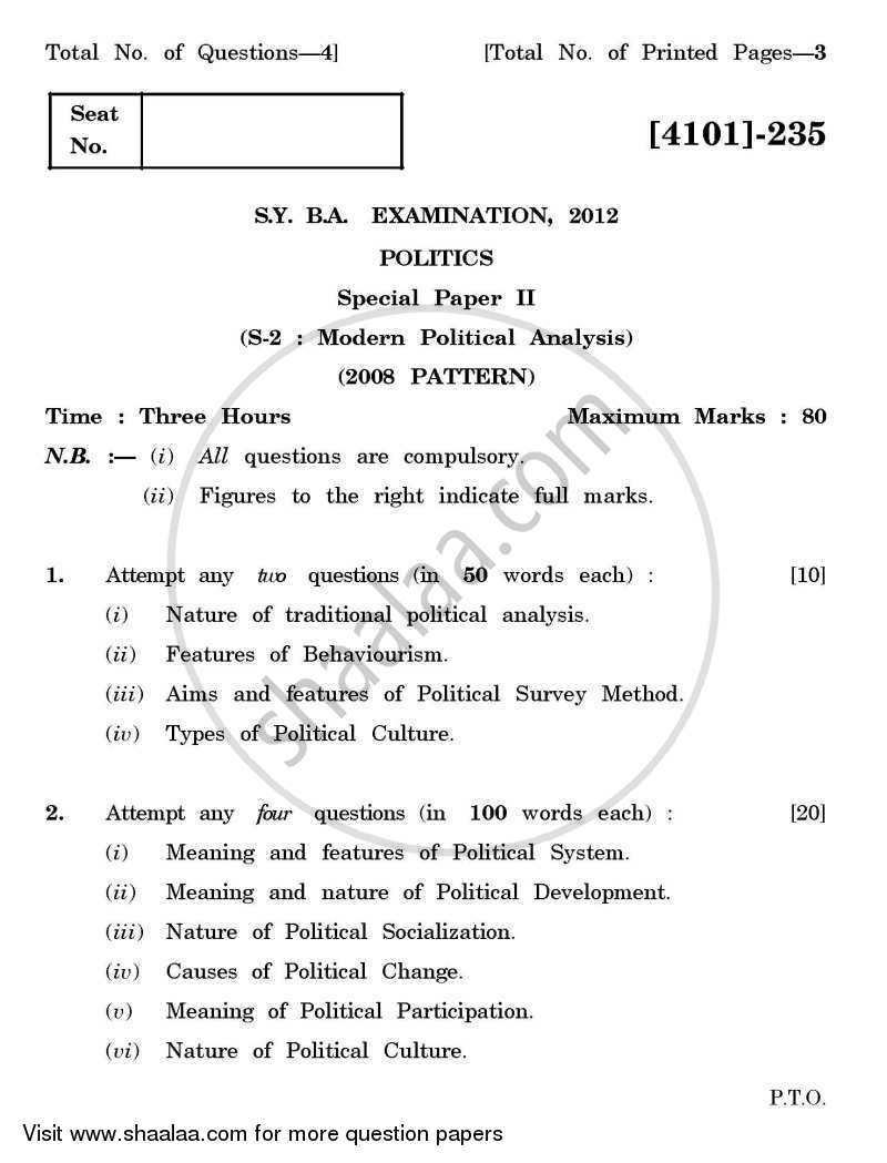 Question Paper - Political Science Special Paper 2- Modern Political Analysis 2011 - 2012 - B.A. - 2nd Year (SYBA) - University of Pune