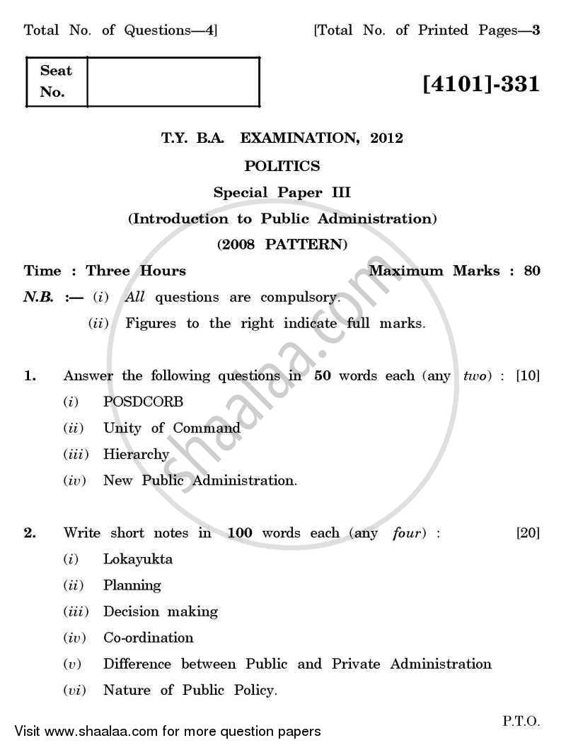 Question Paper - Political Science Special Paper 3- Public Administration 2011 - 2012 - B.A. - 3rd Year (TYBA) - University of Pune