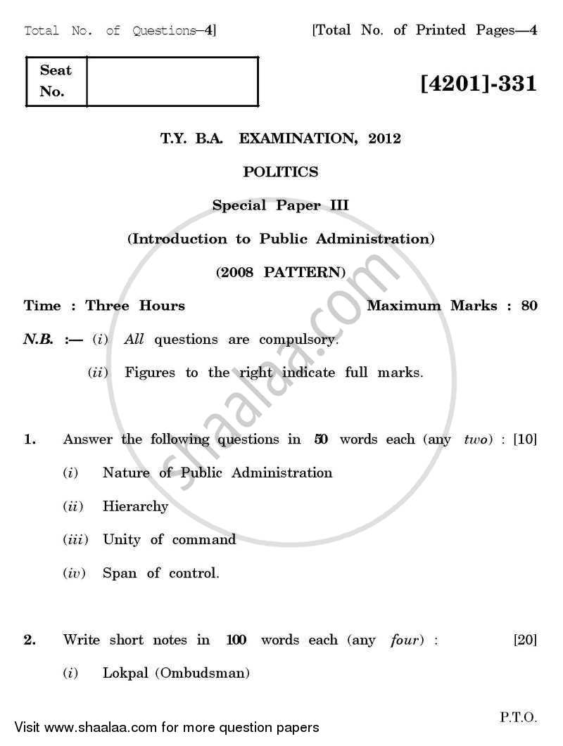 Question Paper - Political Science Special Paper 3- Public Administration 2012 - 2013-B.A.-3rd Year (TYBA) University of Pune