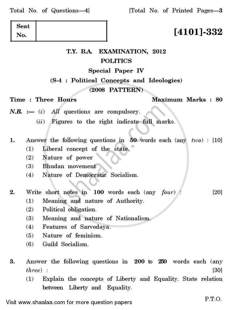 Political Science Special Paper 4- Political Concepts and Ideologies 2011-2012 - B.A. - 3rd Year (TYBA) - University of Pune question paper with PDF download