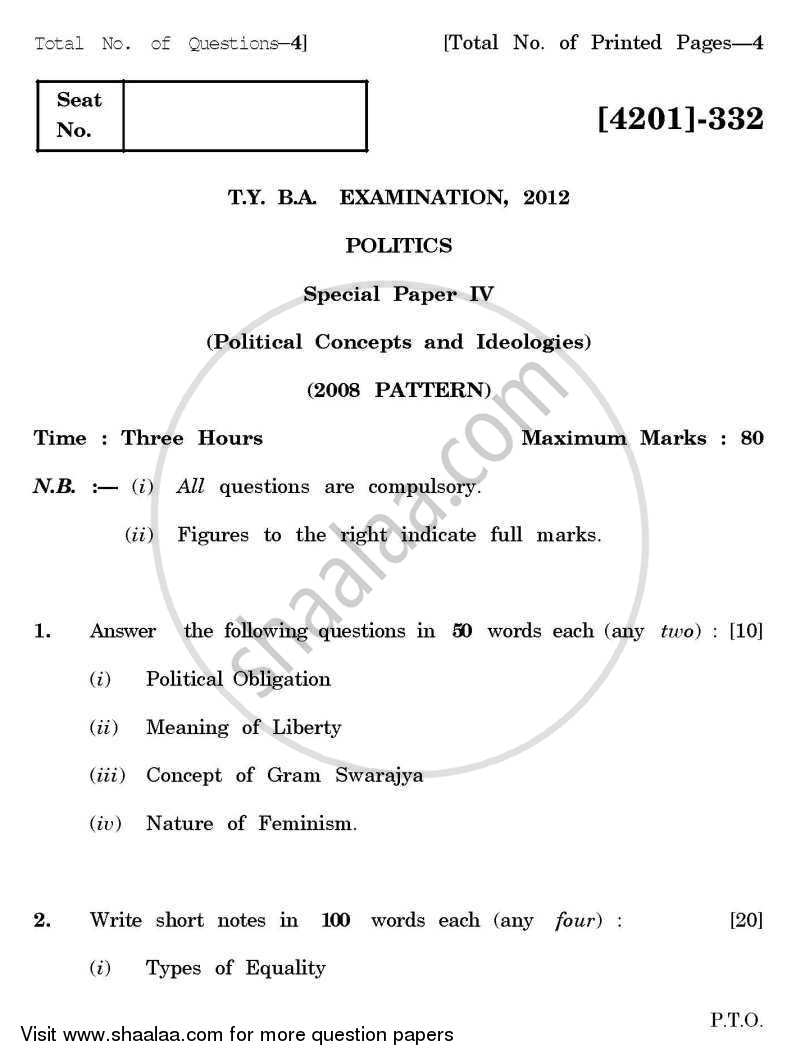 Question Paper - Political Science Special Paper 4- Political Concepts and Ideologies 2012 - 2013 - B.A. - 3rd Year (TYBA) - University of Pune