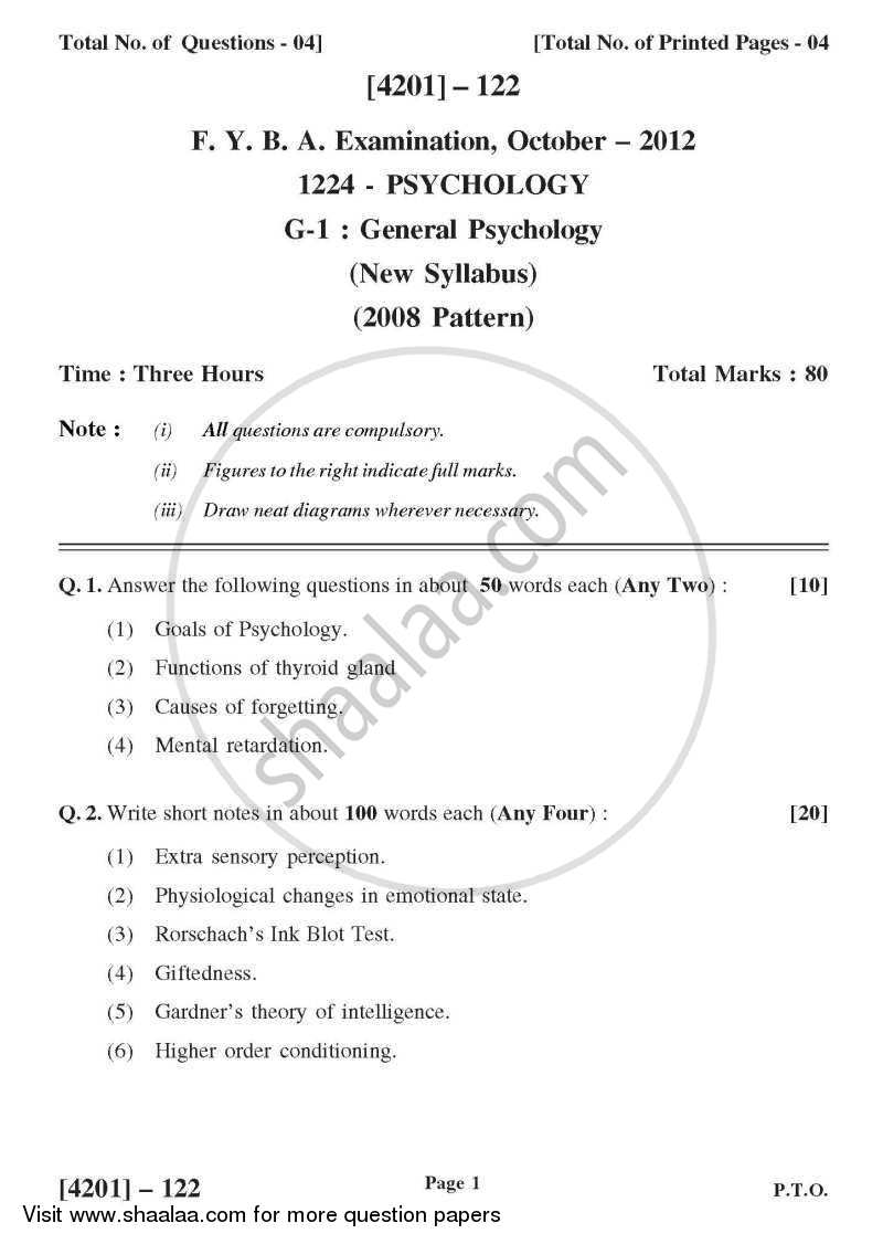 Psychology General Paper 1- General Psychology 2012-2013 - B.A. - 1st Year (FYBA) - University of Pune question paper with PDF download
