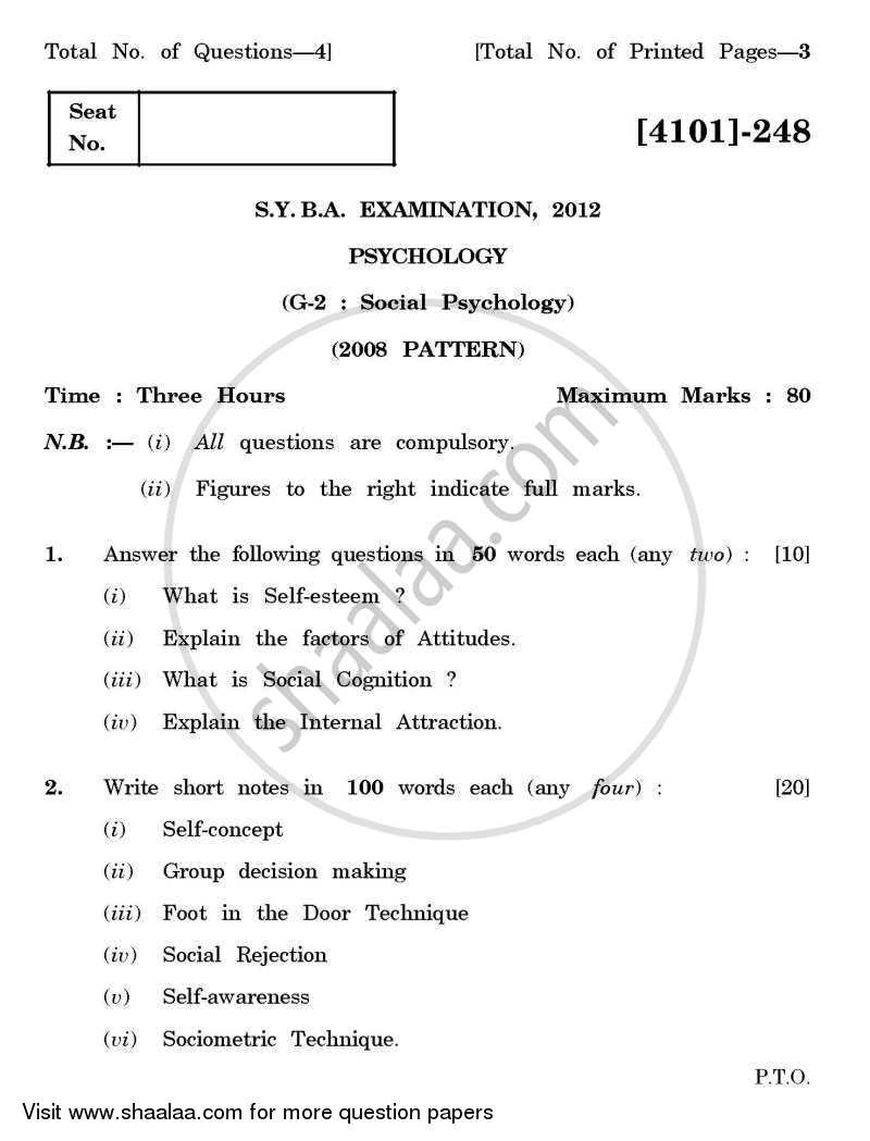 Question Paper - Psychology General Paper 2- Social Psychology 2011 - 2012 - B.A. - 2nd Year (SYBA) - University of Pune