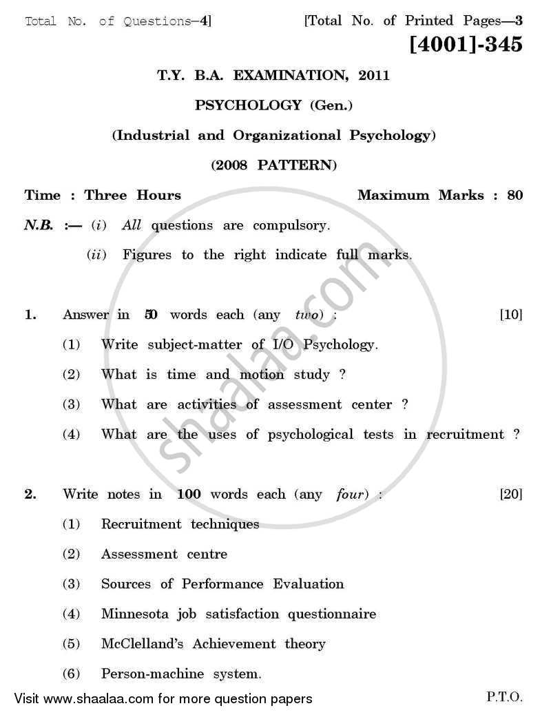 Psychology General Paper 3- Industrial and Organizational Psychology 2011-2012 - B.A. - 3rd Year (TYBA) - University of Pune question paper with PDF download