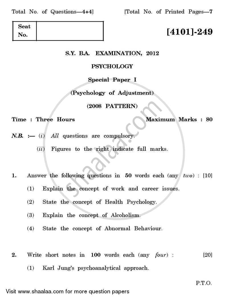 question paper psychology special paper a psychology of question paper psychology special paper 1 a psychology of adjustment 2011