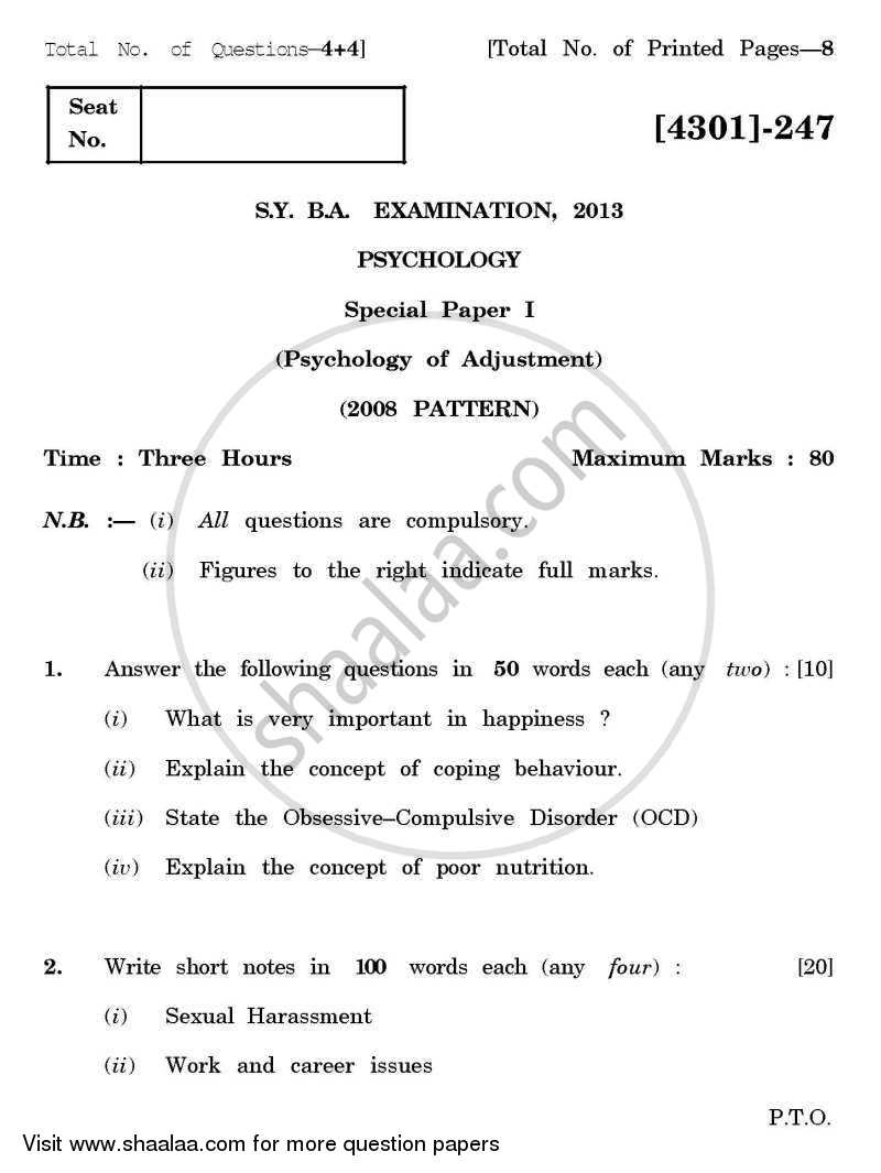 Question Paper - Psychology Special Paper 1(A)- Psychology of Adjustment 2012 - 2013 - B.A. - 2nd Year (SYBA) - University of Pune