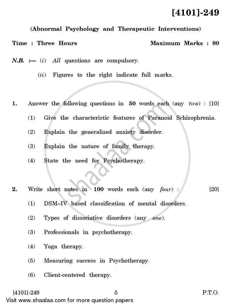 Question Paper - Psychology Special Paper 1(B)- Abnormal Psychology and Therapeutic Interventions 2011 - 2012 - B.A. - 2nd Year (SYBA) - University of Pune