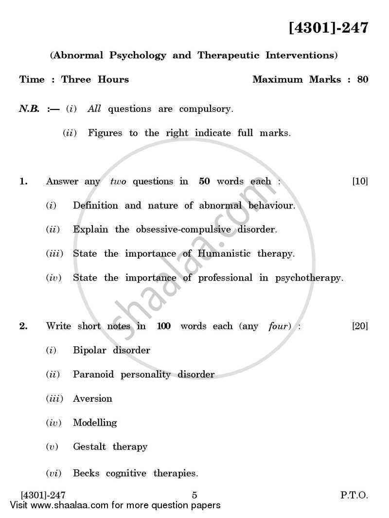 Question Paper - Psychology Special Paper 1(B)- Abnormal Psychology and Therapeutic Interventions 2012 - 2013 - B.A. - 2nd Year (SYBA) - University of Pune