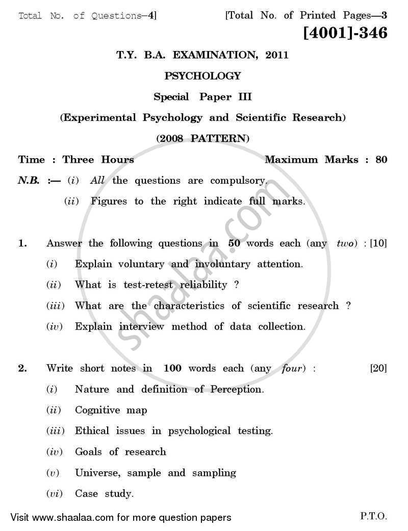 Psychology Special Paper 3- Experimental Psychology and