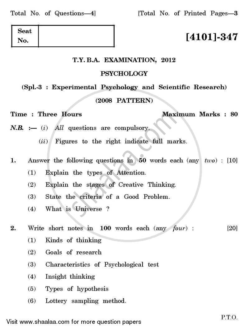 Question Paper - Psychology Special Paper 3- Experimental Psychology and Scientific Research 2011 - 2012 - B.A. - 3rd Year (TYBA) - University of Pune