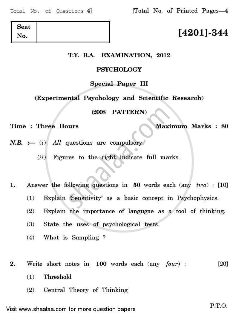 Question Paper - Psychology Special Paper 3- Experimental Psychology and Scientific Research 2012 - 2013-B.A.-3rd Year (TYBA) University of Pune