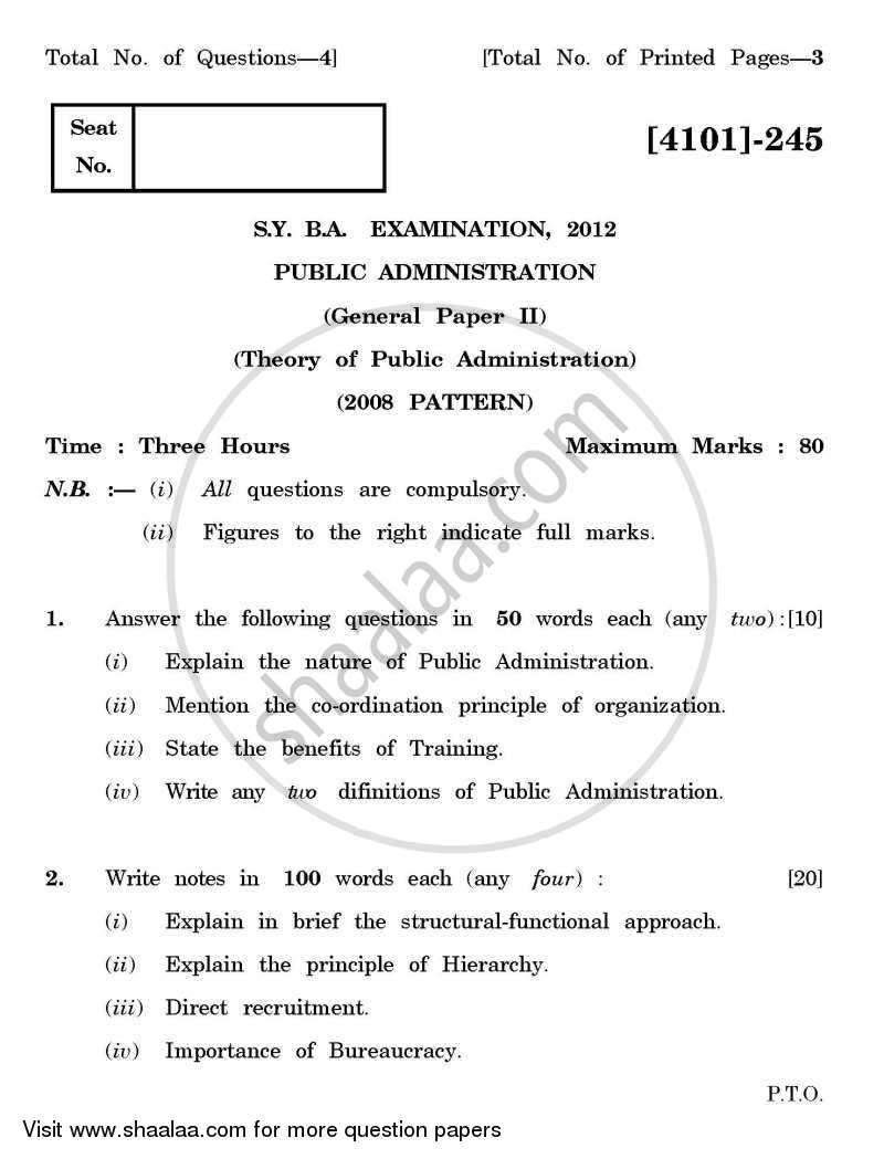 Public Administration General Paper 2- Theory of Public Administration 2011-2012 - B.A. - 2nd Year (SYBA) - University of Pune question paper with PDF download