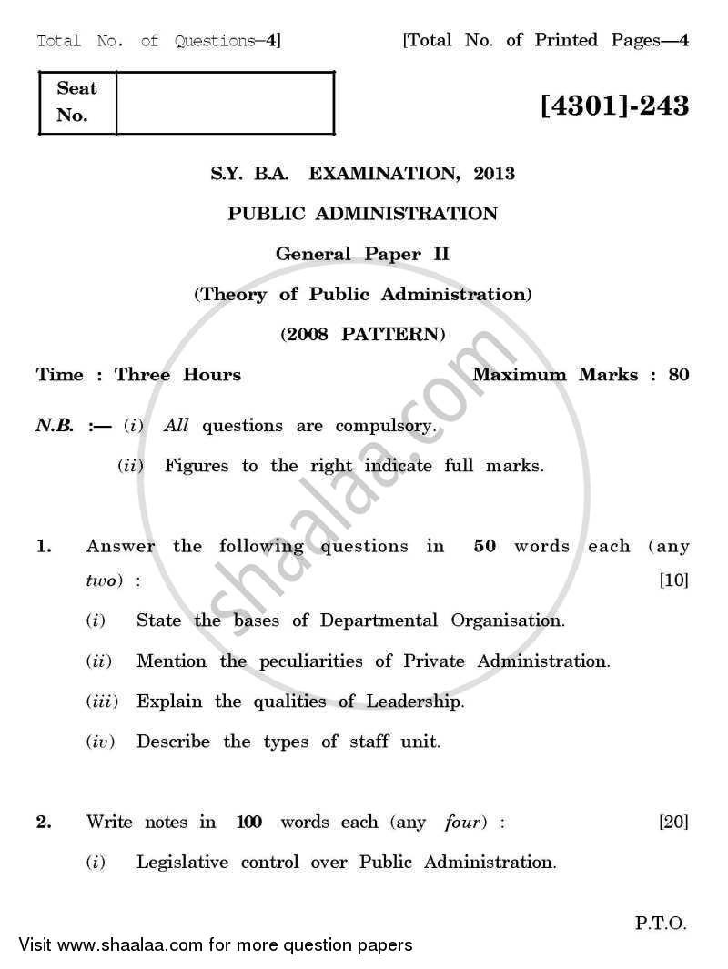 question paper public administration general paper theory of question paper public administration general paper 2 theory of public administration 2012 2013
