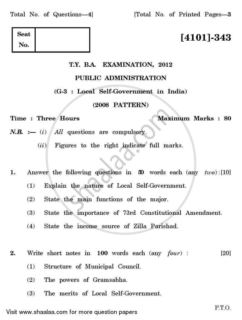Question Paper - Public Administration General Paper 3- Local Self Government in India 2011 - 2012 - B.A. - 3rd Year (TYBA) - University of Pune