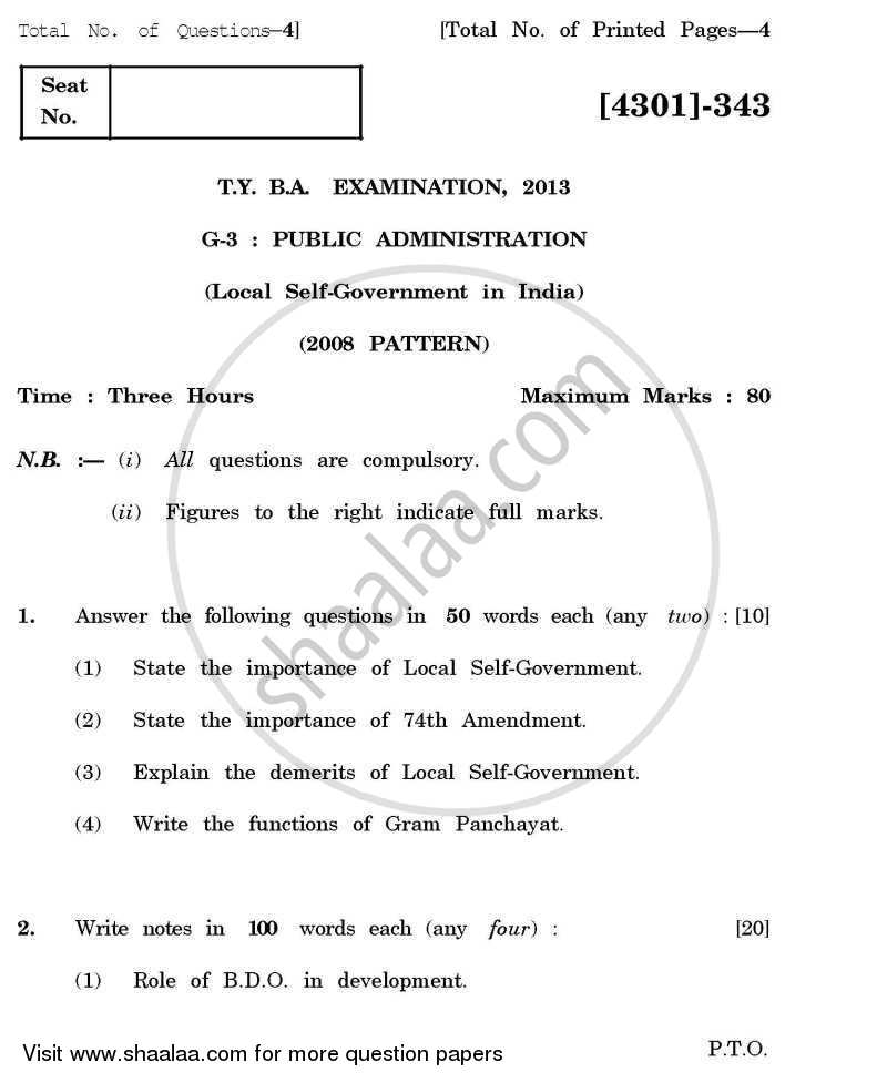 Question Paper - Public Administration General Paper 3- Local Self Government in India 2012 - 2013 - B.A. - 3rd Year (TYBA) - University of Pune