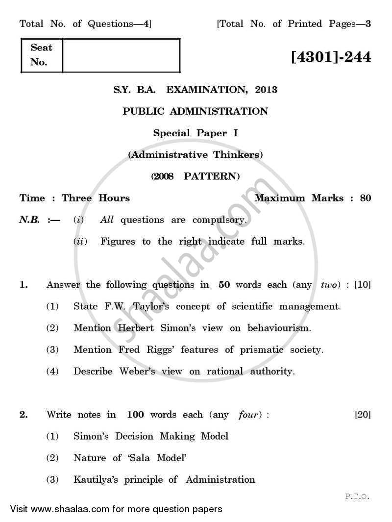 Public Administration Special Paper 1- Administrative Thinkers 2012-2013 - B.A. - 2nd Year (SYBA) - University of Pune question paper with PDF download