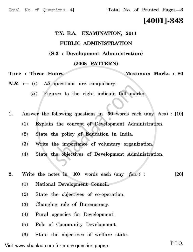 Question Paper - Public Administration Special Paper 3- Development Administration 2011 - 2012 - B.A. - 3rd Year (TYBA) - University of Pune