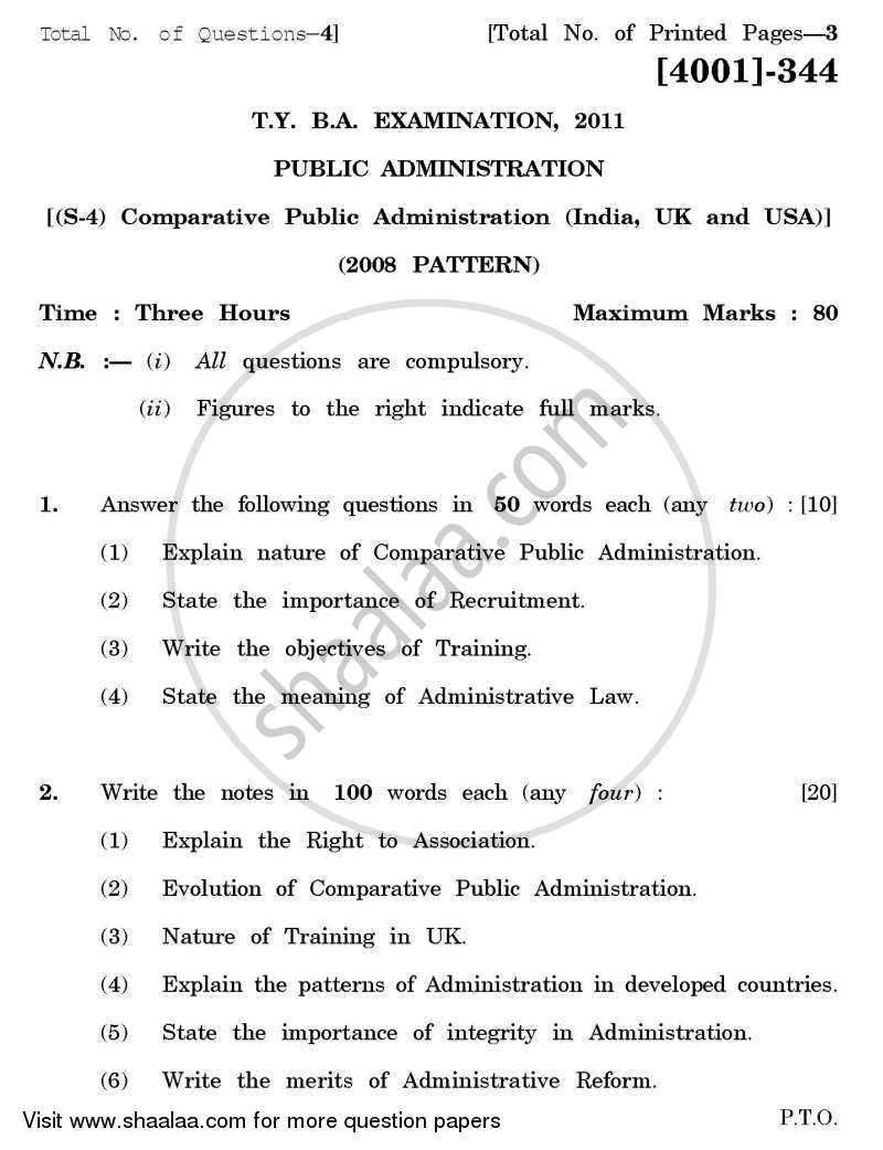 Question Paper - Public Administration Special Paper 4- Comparative Public Administration (India /U.K / U.S.A) 2011 - 2012 - B.A. - 3rd Year (TYBA) - University of Pune