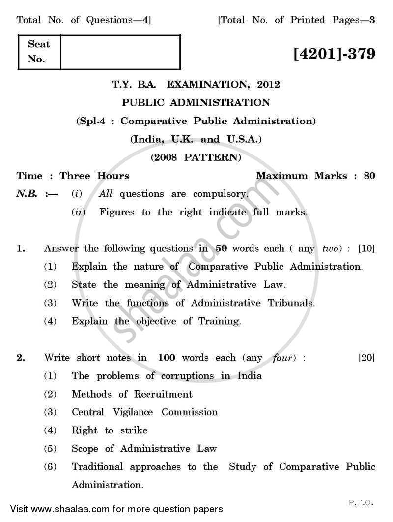 Question Paper - Public Administration Special Paper 4- Comparative Public Administration (India /U.K / U.S.A) 2012 - 2013 - B.A. - 3rd Year (TYBA) - University of Pune