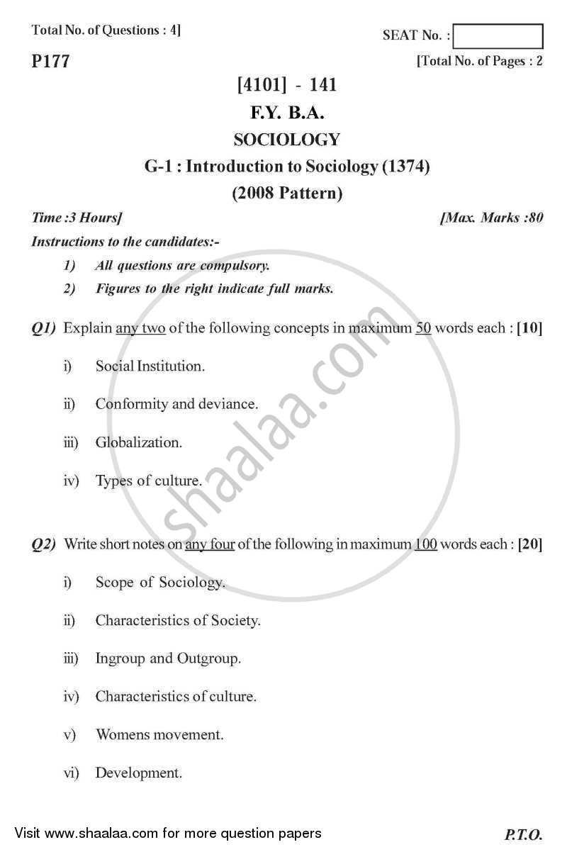 Sociology General Paper 1- Introduction to Sociology 2011-2012 - B.A. - 1st Year (FYBA) - University of Pune question paper with PDF download