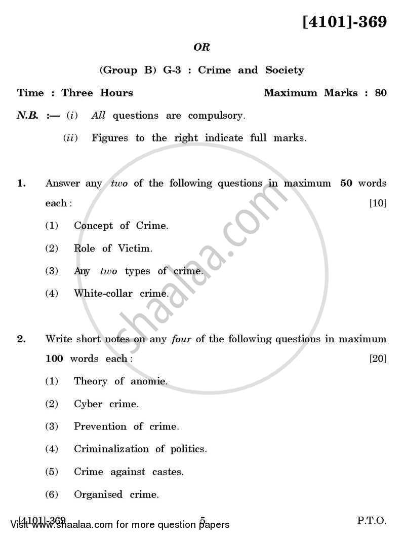 Question Paper - Sociology General Paper 3- Crime and Society 2011 - 2012 - B.A. - 3rd Year (TYBA) - University of Pune
